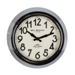 Round Metal Silver/Chrome & Black Wall Clock 25.5cm